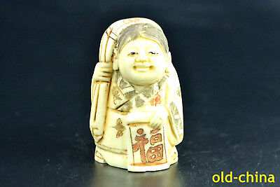 old handwork China Relievo handwork carve Land mother-in-law carry bag statue