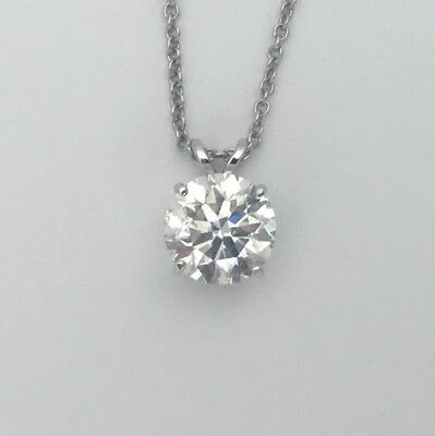 1.00 Ct F VS1 REAL NATURAL DIAMOND SOLITAIRE PENDANT NECKLACE 14K WHITE GOLD