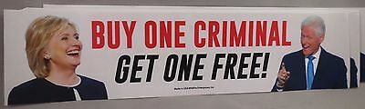 Lot Of 20 Anti Hillary Clinton Buy One Criminal Get 1 Free Sticker Trump Bill $