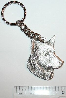 "Belgian Sheepdog Rawcliffe Pewter ""I Love My Dog"" Vintage Keychain"