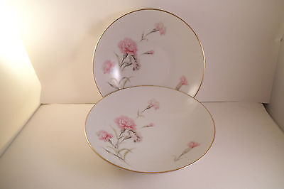 Vintage Royal Court Fine China Japan Carnation Pair of Coupe Soup Bowls