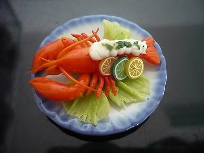 Lobster Cream Sauce Seafood on Plates Dollhouse Miniatures Food Barbie