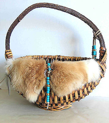 Handcrafted Native American Spirit Basket Rabbit Fur Feathers & Beads FREE SH