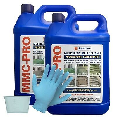MMC PRO - 2 x 5L - CONCENTRATED MOSS AND ALGAE KILLER + FREE 120ml POT & GLOVES