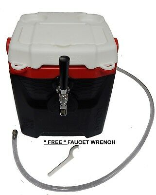 Mini Jockey Box Cooler, 50' Stainless Steel Coil, Single Faucet 12QT Dispenser.