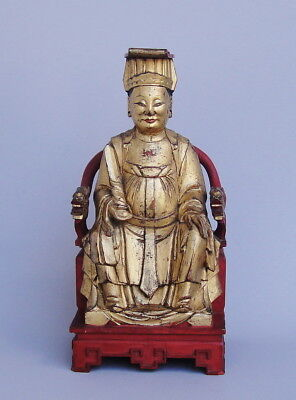 Large Antique 18th / 19th Century Chinese Gilt Wood Statue Figurine Carving