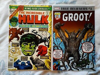 Hulk king size annual 5 2nd Groot app, Tales to Astonish 13 1st Groot app