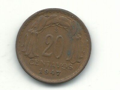 Very Nice Higher Grade 1947 S Chile 20 Centavos Coin-Jan367