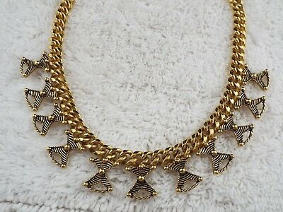 Goldtone Egyptian Revival Pendants Chain Necklace (B43)