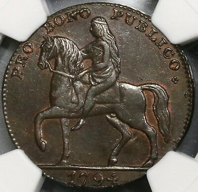 1794 NGC AU 55 LADY GODIVA Rare Conder 1/2 Penny Coventry D&H 249 (17102505C)