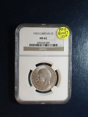 1923 Great Britain Two Shillings NGC MS62 SILVER 2S Coin PRICED TO SELL NOW!