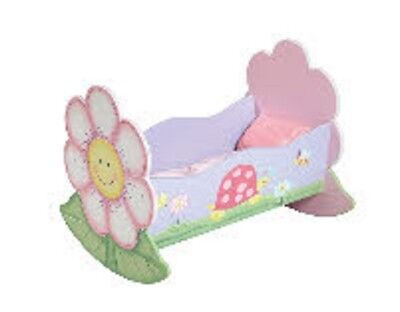 New Dolls Susanne Classic Rocker Cradle White Cane Doll Bed Girls