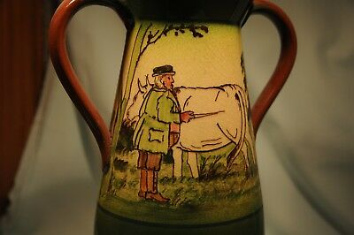 Watcombe Pottery Faience Ware Farmer & Cow large vase