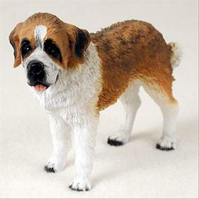 Saint Bernard Smooth Coat Dog Hand Painted Canine Collectable Figurine Statue