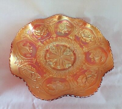 Fenton Lotus and Dragon Carnival Glass Ruffled Amber Dish