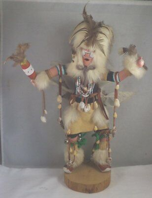 "Vintage 13"" White Buffalo Dancer Hopi Kachina Doll Artist Signed"