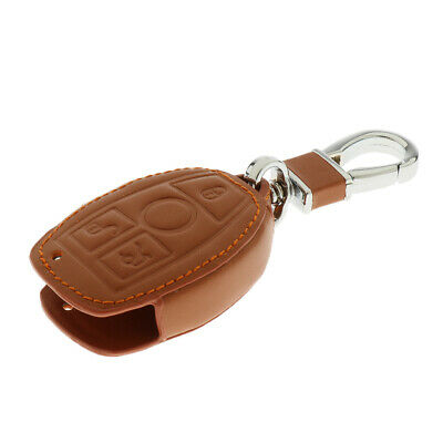 Leather Car Remote Key Holder Case Cover for Mercedes Benz C E S G Brown