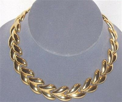 Vintage Super Nice  Large Gold Tone Link Necklace  H323