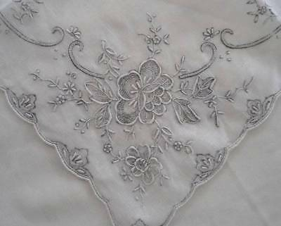Vintage Madeira Linen Bridal Hanky Gray Embroidery Flowers Seed Stitches