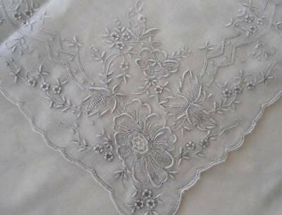 Vintage Madeira Linen Wedding Hanky Pale Gray Embroidery Needle Lace H