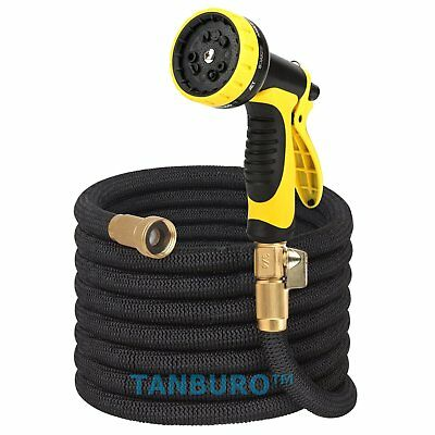 Latex 25 50 75 100 FT Garden Expandable Hose Watering Pipe with Spray Nozzle