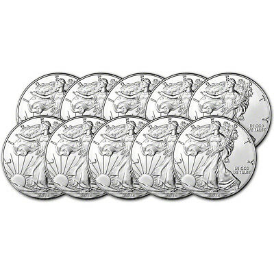 2018 American Silver Eagle (1 oz) $1 - BU - Ten 10 Coins