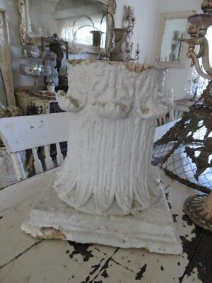 THE BEST Large OLD Salvaged ARCHITECTURAL Chippy WHITE CAPITAL Ornate Details