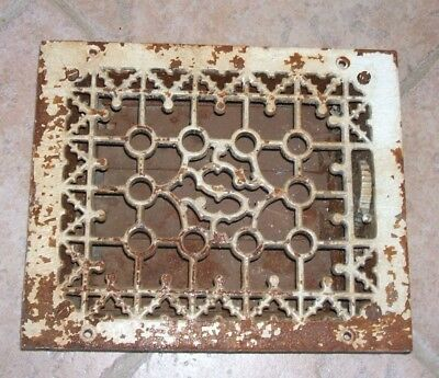Vintage VICTORIAN Cast Iron Floor Grille Heat Grate Register with Louvers  Works
