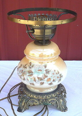 Vintage Luster Floral Glass Hurricane GWTW Brass Footed 3 Way Table Lamp As Is