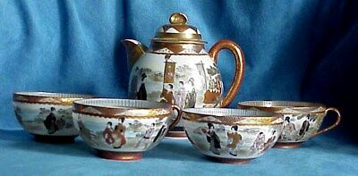 Fine Antique Signed Meiji Satsuma Rivers Edge Geisha Teapot Cups Tea Set Kutani
