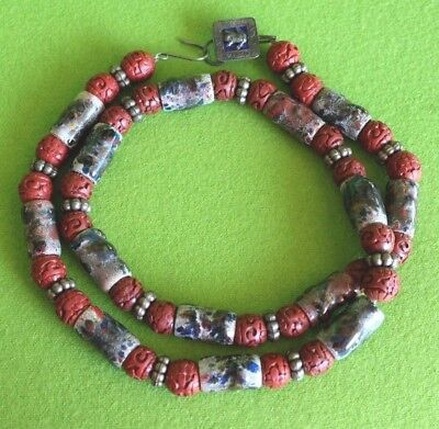 Vintage Chinese Hand Carved Antique Red CINNABAR Enamel On Copper Bead Necklace