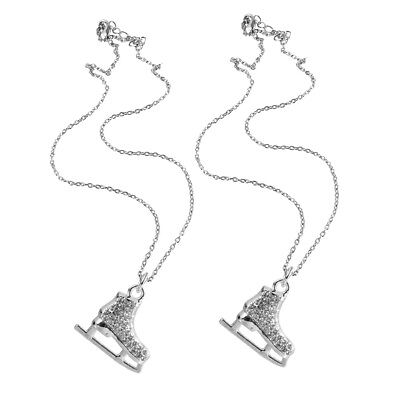 2pcs Ice Figure Skating Sport Shoes Skate Pendant Necklace Gift for Skater