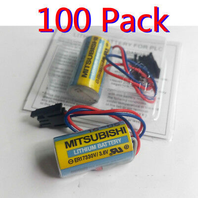 100pcs Mitsubishi A6BAT ER17330V PLC Battery Size 2/3A 3.6V Li-ion Battery +Plug