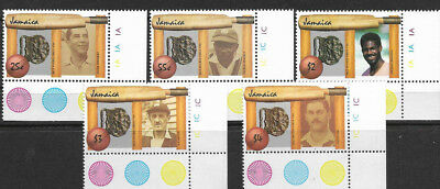 JAMAICA 1988 CRICKET DIAMOND JUBILEE Corner Set Of 5 5v MNH