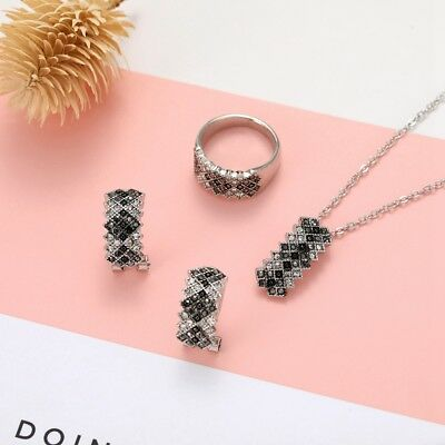 Luxury Women Necklace Earrings Ring Jewerly Set Accessories Lattice Crystal