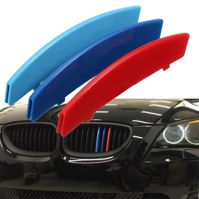3x M Power Car Front Grille Trim Clips Strip Cover For BMW 5 Series E60 04-10
