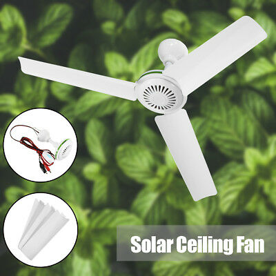 Portable 12V 20 Solar Ceiling Fan 3 Blade Caravan Camping With Switch 6W White