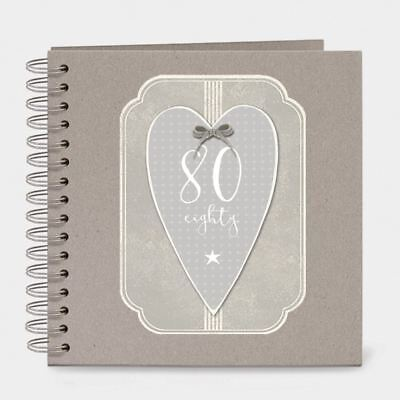 East of India Italic Heart Keepsake Memory Book 80 Birthday Eighty