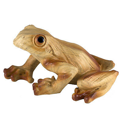 Frog Faux Carved Wood Look Figurine Resin 3.5 Inch Long New! Pose B