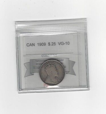 **1909**Coin Mart Graded Canadian, 25 Cent, **VG-10**