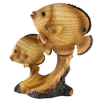 Tropical Fish Carved Wood Look Figurine Resin 4.25 Inch High New