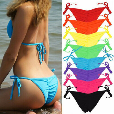 V Cheeky Brazilian Thong Bikini Bottom Womens String Micro Tiny Scrunch Swimwear