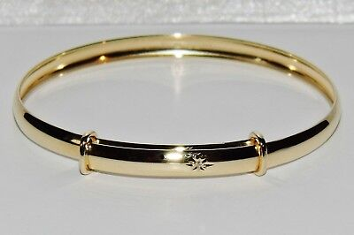 NEW Solid 9ct Gold Real Diamond Expanding Baby Bangle - 2.5 grams