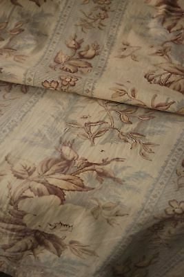 Antique French printed cotton fabric faded GREY GRAY rose neutral tones old ~