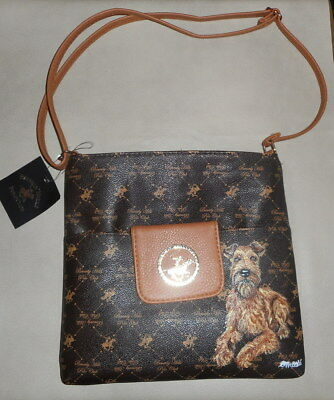 Irish Terrier dog Hand Painted Designer Leather Handbag Bag Purse