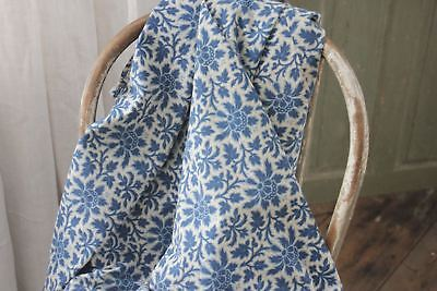Antique French printed curtain Blue floral c 1880 Arts and Crafts design cotton