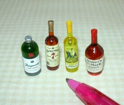 Miniature Liquor for the DOLLHOUSE Bar, Set #6, 1:12 Scale Miniatures