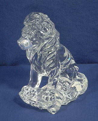 """Lenox Fine Crystal Glass Sitting Lion Paperweight Figurine Made in Germany 7.75"""""""
