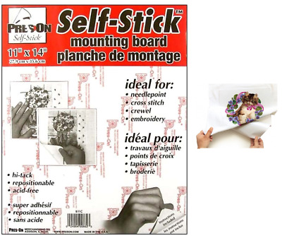 SELF STICK Adhesive Backed Mounting Board for Cross Stitch Needlework 11 x 14