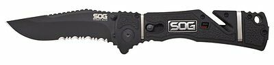 New Sog Tool Tf106-Cp Black Trident Elite Combo Edge Assisted Clip Folder Knife